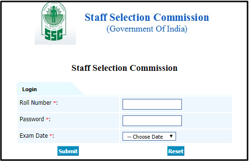 SSC CGL Answer Keys Login Window