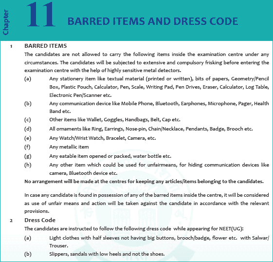 Barred Items and Dress Code