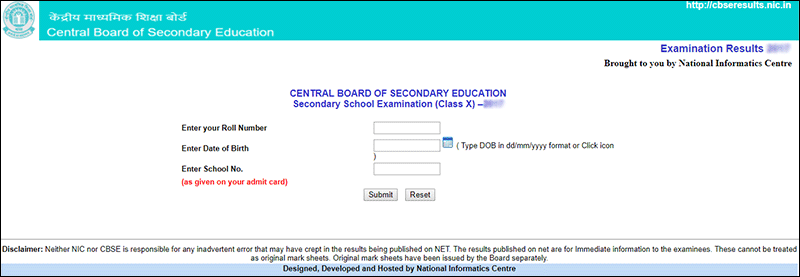 cbse 10th result Official Website