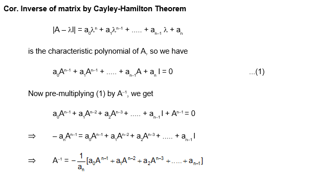 Cayley Hamilton Theorem Inverse