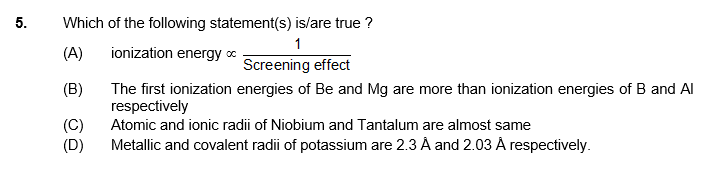 Periodic table 5 question