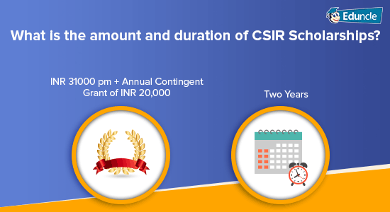 What is the amount and duration of CSIR Scholarships?