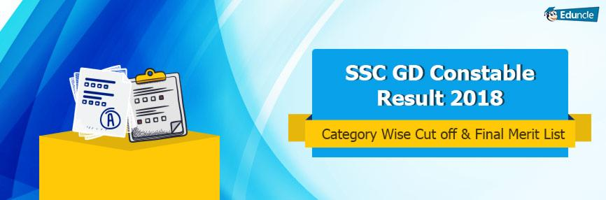 SSC GD Constable Result 2018, Category Wise Cut Off & Merit List