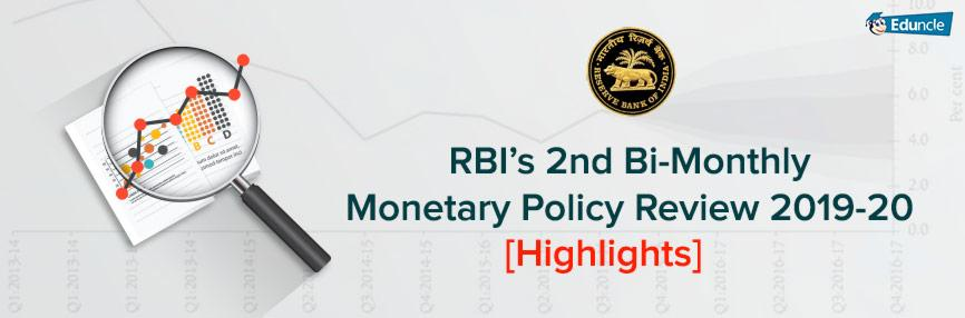 RBI's 2nd Bi-Monthly Monetary Policy Review 2019-20