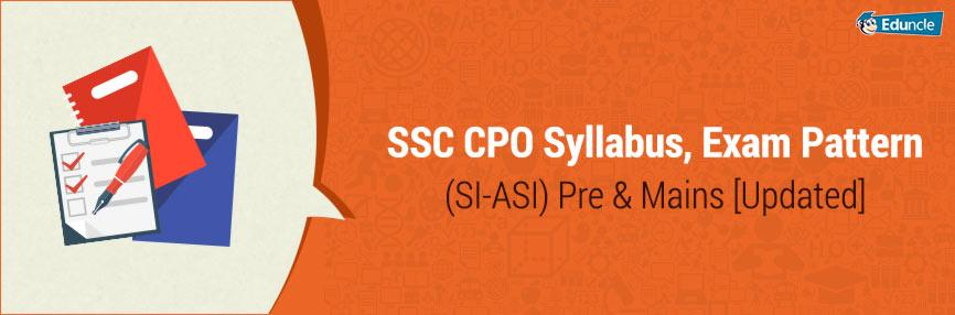 SSC CPO Syllabus, Exam Pattern